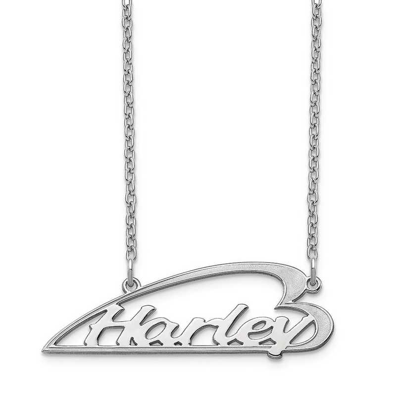 XNA933SS: Sterling Silver Side Heart Nameplate Necklace