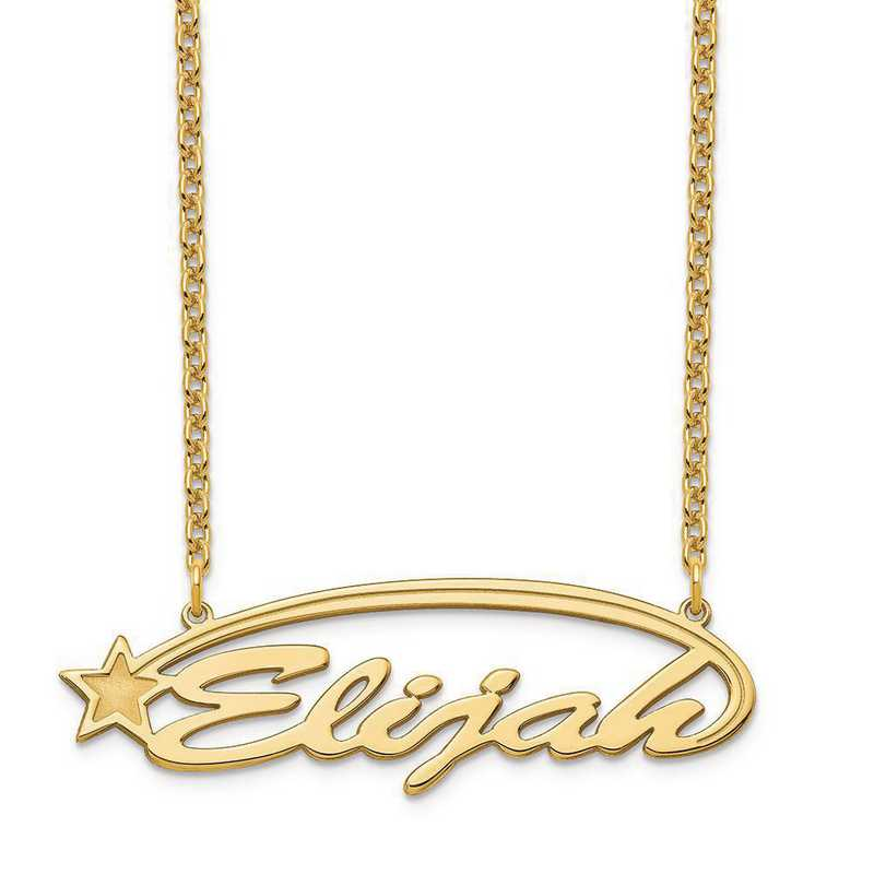 XNA934GP: Sterling Silver Gold Plated Shooting Star Nameplate