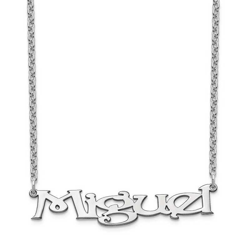 XNA938SS: Sterling Silver Gold Plated Fancy Block Nameplate Necklace