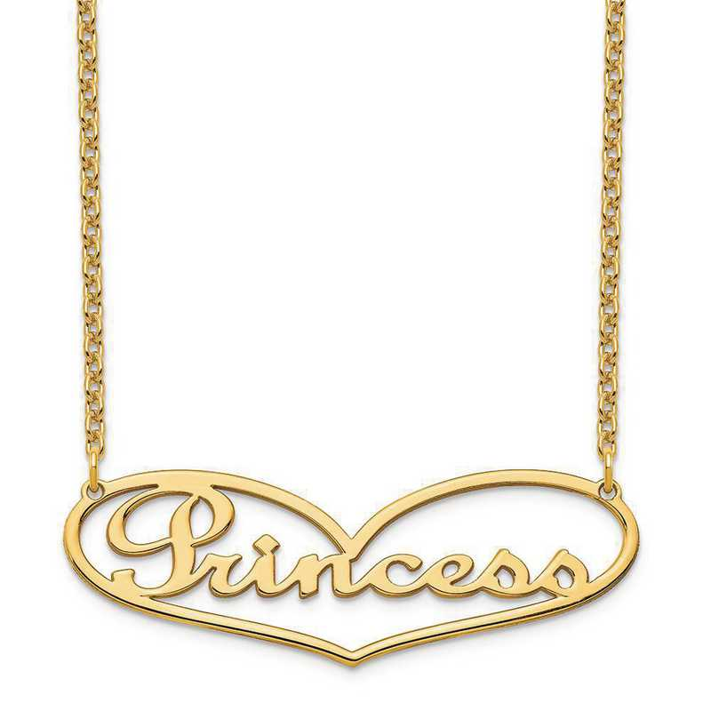 XNA941GP: Sterling Silver Gold Plated Heart Nameplate Necklace