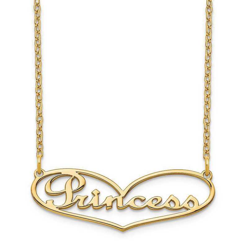 XNA942GP: Sterling Silver Gold Plated Heart Nameplate Necklace
