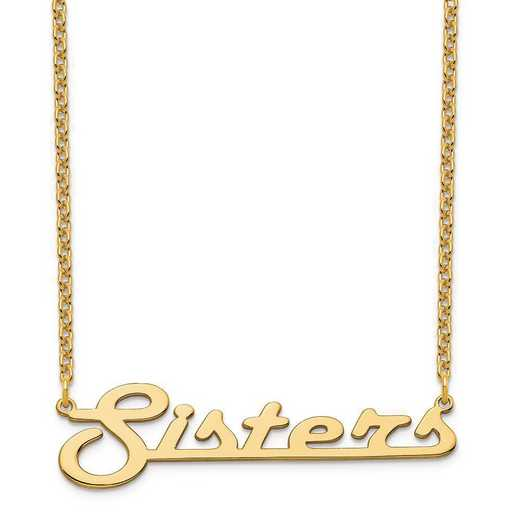 XNA943GP: Sterling Silver Gold Plated Underlined Nameplate Necklace