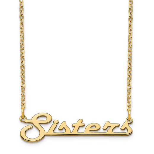 XNA944GP: Sterling Silver Gold Plated Underlined Nameplate Necklace