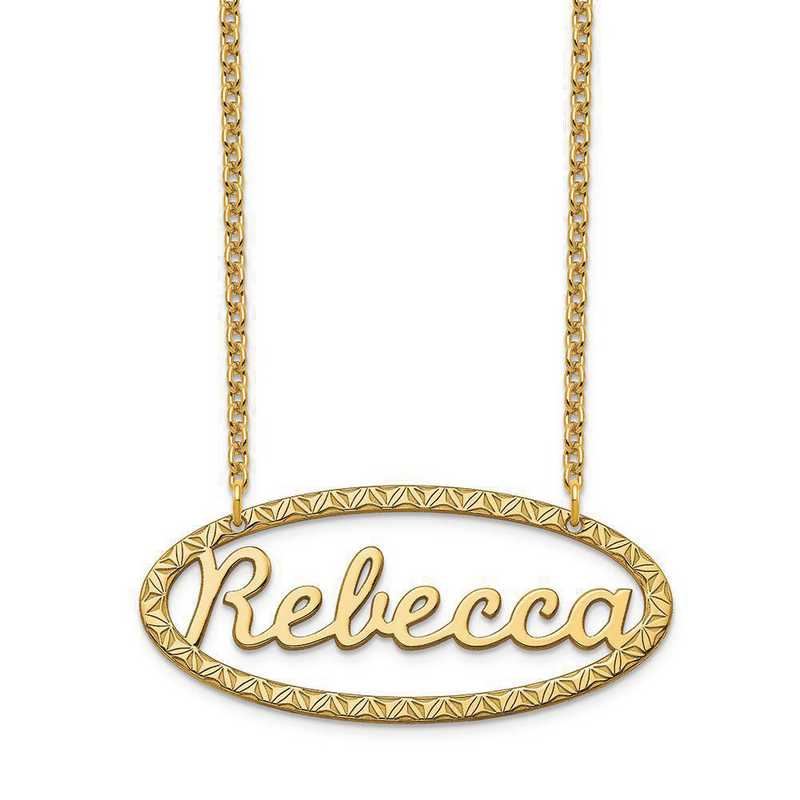 XNA947GP: Sterling Silver Gold Plated Fancy Border Nameplate Necklace