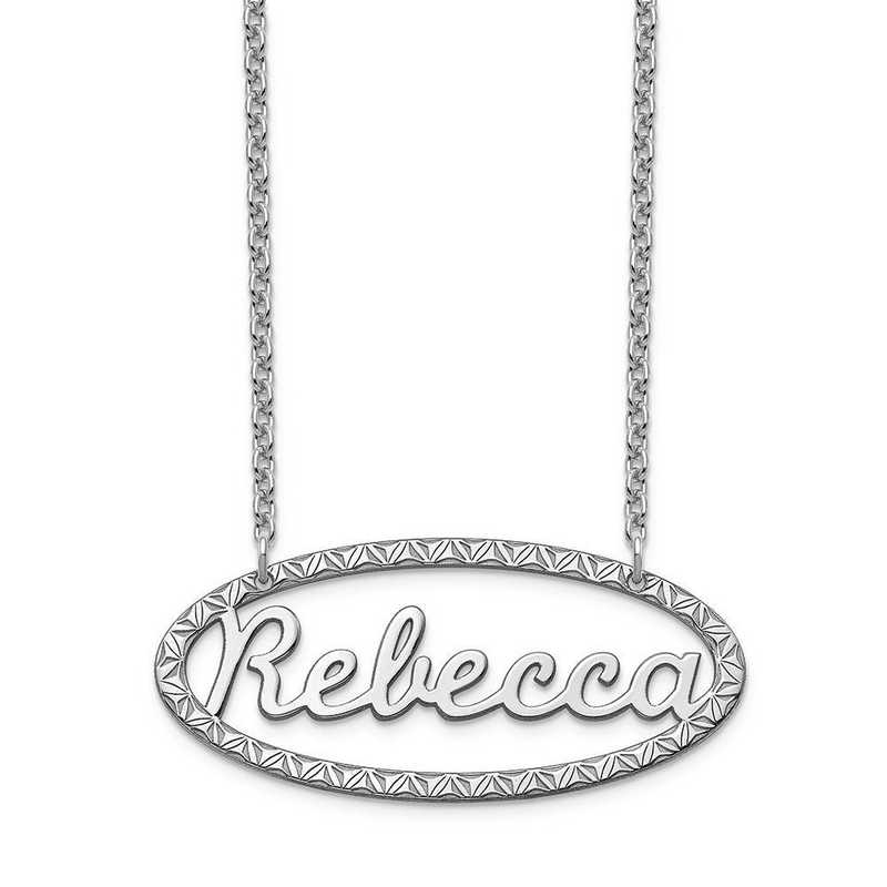 XNA947SS: Sterling Silver Fancy Border Nameplate Necklace