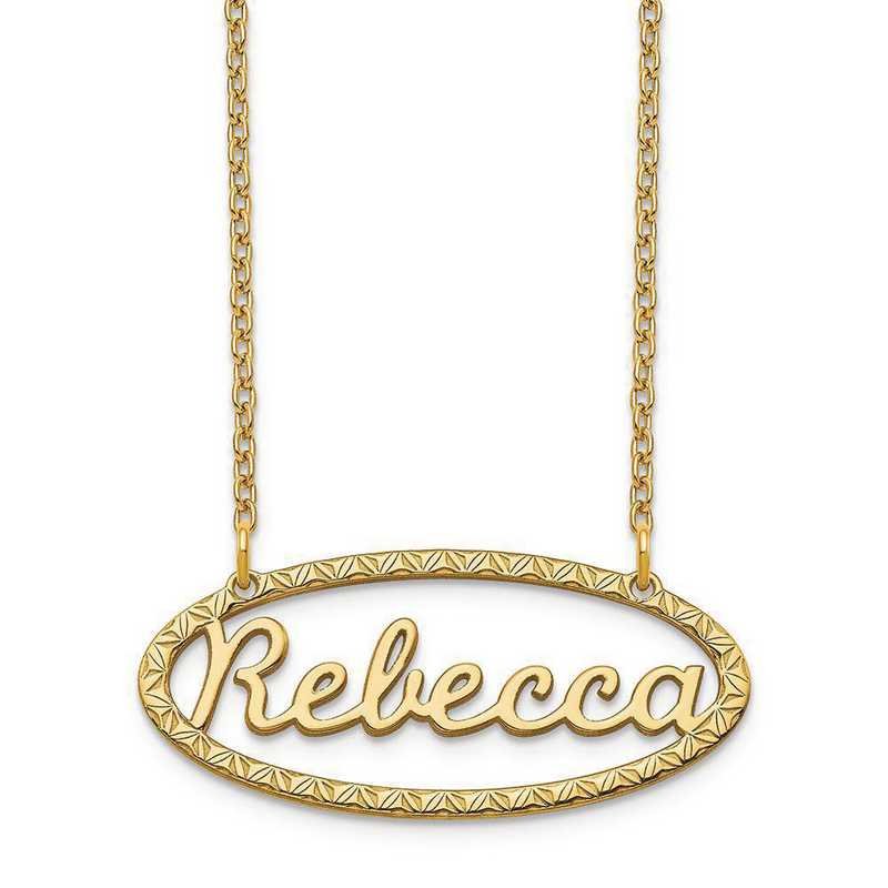 XNA948GP: Sterling Silver Gold Plated Fancy Border Nameplate Necklace