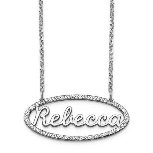 XNA948SS: Sterling Silver Fancy Border Nameplate Necklace
