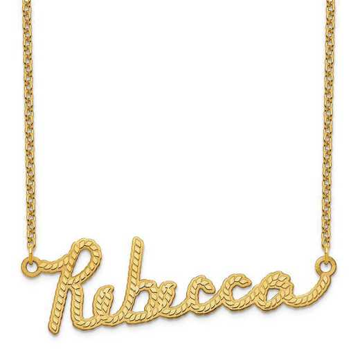 XNA952GP: Sterling Silver Gold Plated Rope Nameplate Necklace