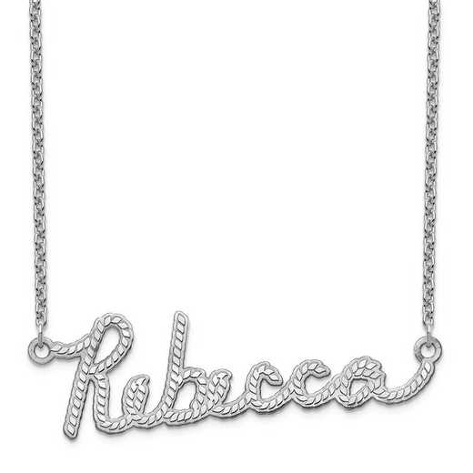 XNA952SS: Sterling Silver Rope Nameplate Necklace