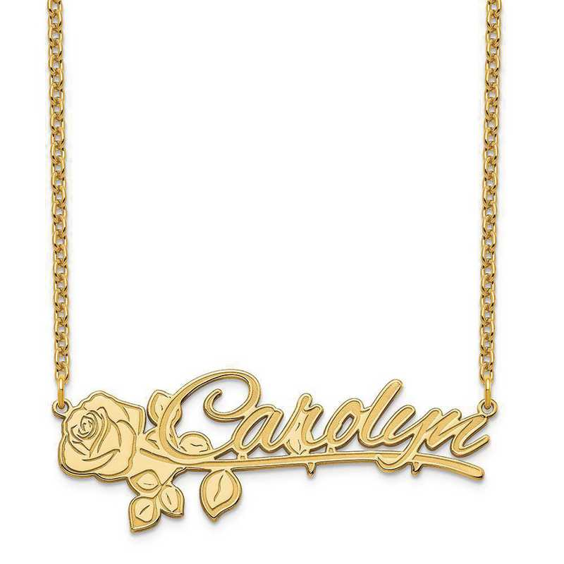 XNA954GP: Sterling Silver Gold Plated Rose Nameplate Necklace