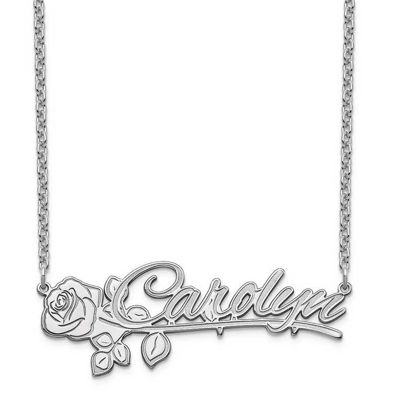 XNA954SS: Sterling Silver Rose Nameplate Necklace