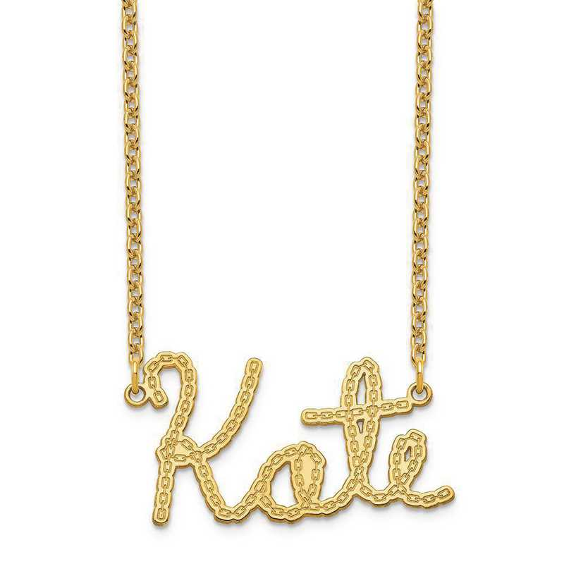 XNA956GP: Sterling Silver Gold Plated Chain Nameplate Necklace