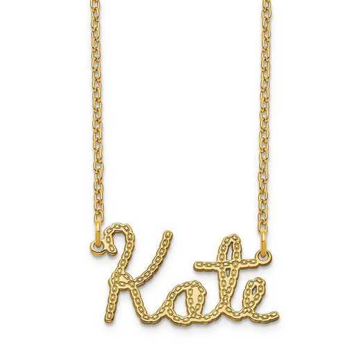 XNA957GP: Sterling Silver Gold Plated Chain Nameplate Necklace