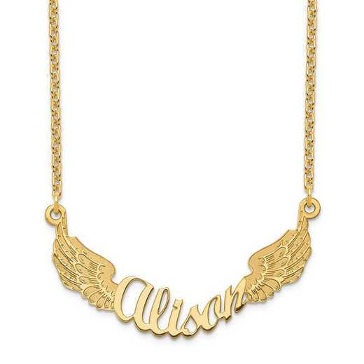 XNA964GP: Sterling Silver Gold Plated Angel Wings Nameplate Necklace