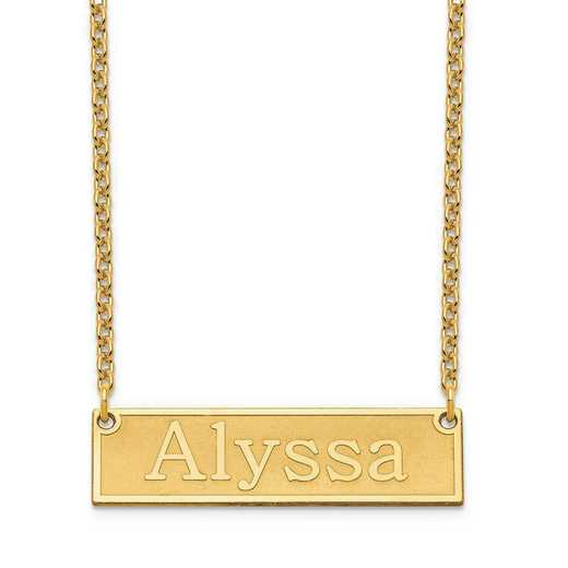 XNA965GP: Sterling Silver Gold Plated Etched Bar Name Necklace