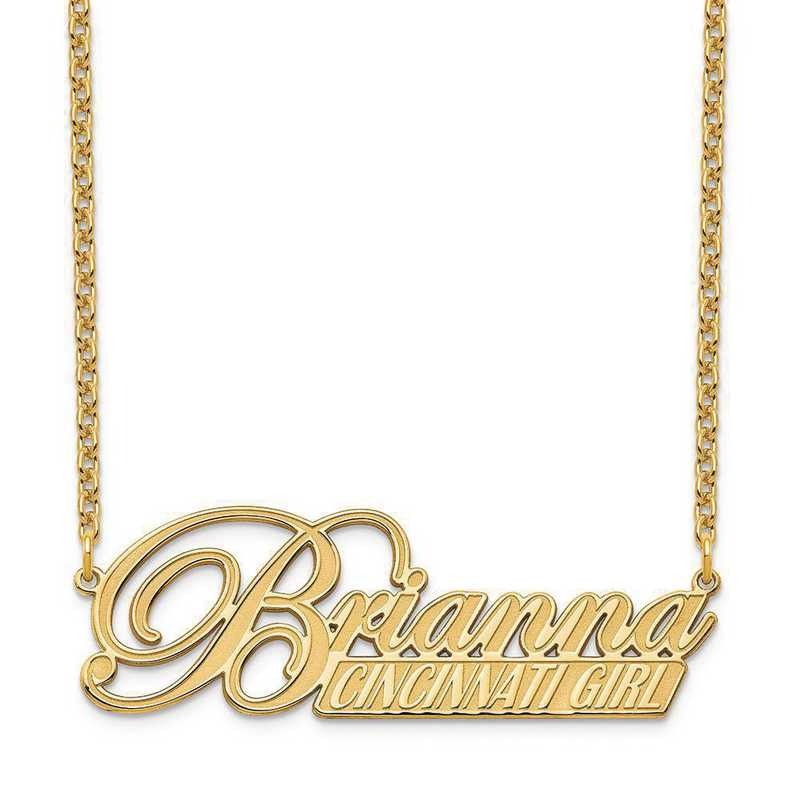 XNA972GP: Sterling Silver Gold Plated Name and Bar Necklace