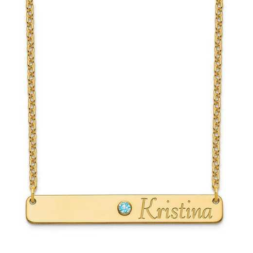 Personalized Sterling Silver Gold Plated Name and Crystal Birthstone Bar Necklace