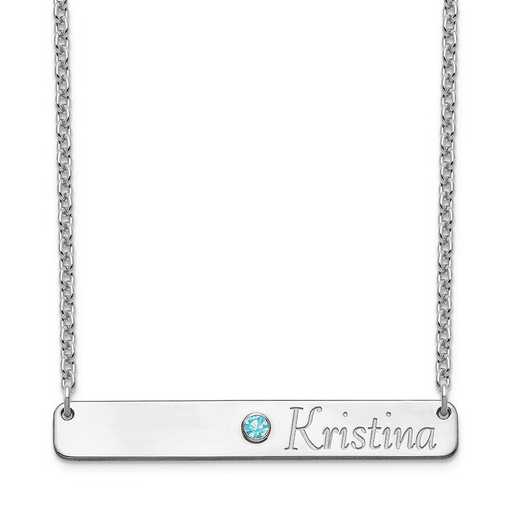 Personalized Sterling Silver Name and Crystal Birthstone Bar Necklace