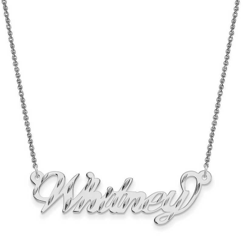 10XNA162W-10PE74-18: 10K .013 Gauge White Gold Polished Diamond-cut Name Plate