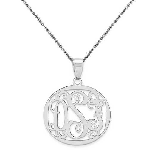 10XNA500W-10PE74-18: 10k White Gold .013 Gauge Monogram Pendant