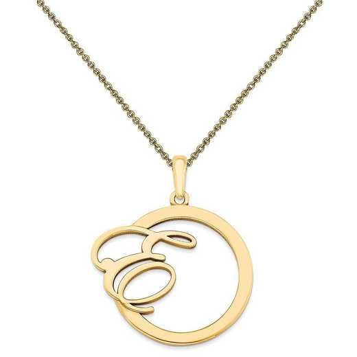 10XNA515Y-10PE53-18: 10KY Casted Polished & Satin Initial in Circle Pendant