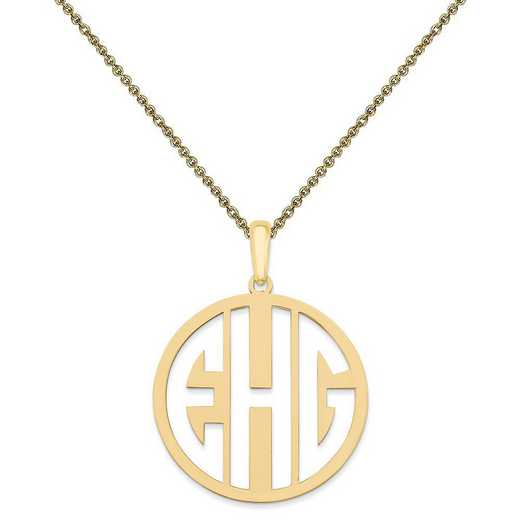 10XNA529Y-10PE53-18: 10KY Laser High Polished Monogram Pendant