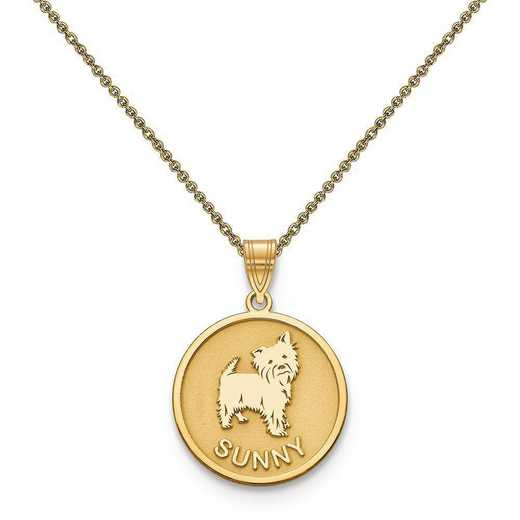 10XNA859Y-10PE53-18: 10k Yellow Gold Personalized Dog Charm
