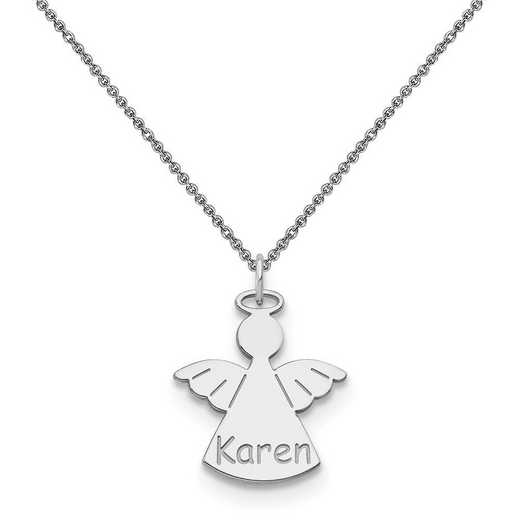 10XNA868W-10PE74-18: 10k White Gold Angel Name Charm