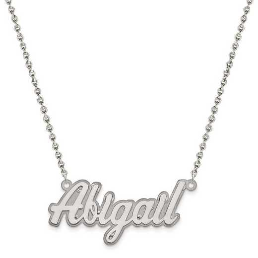 XNA242SS-QCL050R-18: Sterling Silver Rhodium-plated Polished 3D Name Plate