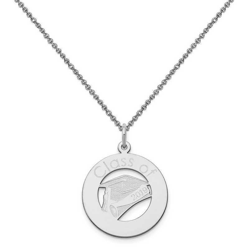 XNA360W-PEN74-18: 14 Karat White Gold Personalized Graduation Charm