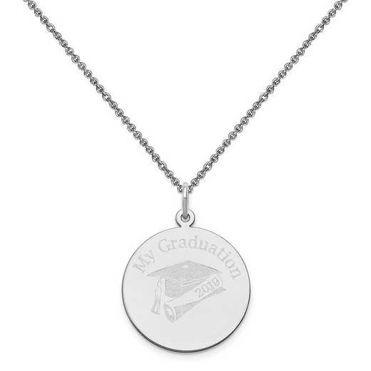 XNA361W-PEN74-18: 14 Karat White Gold Personalized Graduation Charm
