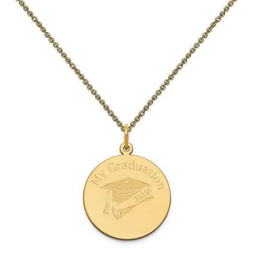 XNA361Y-PEN53-18: 14 Karat Yellow Gold Personalized Graduation Charm