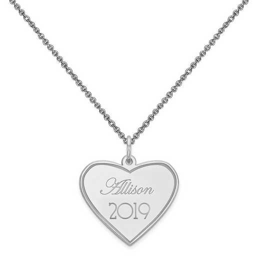 XNA369W-PEN74-18: 14 Karat White Gold Personalized Graduation Charm