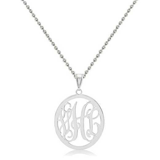 XNA498SS-QCL050R-18: Sterling Silver Rhodium-plated .027 Gauge Monogram Pendant