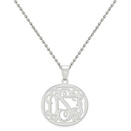 XNA500SS-QCL050R-18: Sterling Silver Rhodium-plated .027 Gauge Monogram Pendant