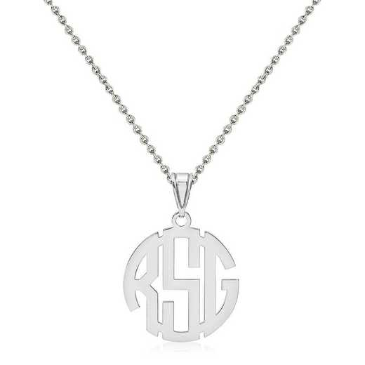 XNA501SS-QCL050R-18: Sterling Silver Rhodium-plated .027 Gauge Monogram Pendant