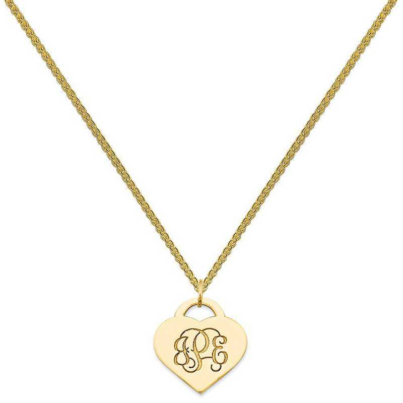 XNA511GP-QSP035G-18: GP/SS Casted High Polished Letters Heart Monogram Pend