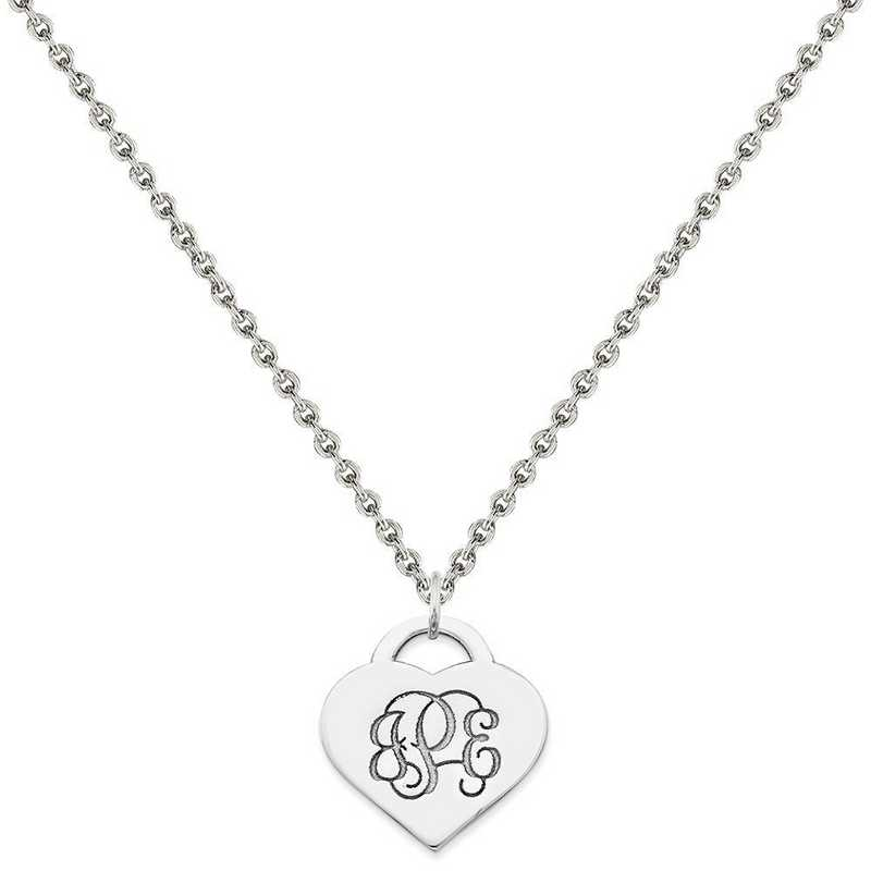 XNA511SS-QCL050R-18: SS Rh-plt Laser Cut High Polished Heart Monogram Pendant