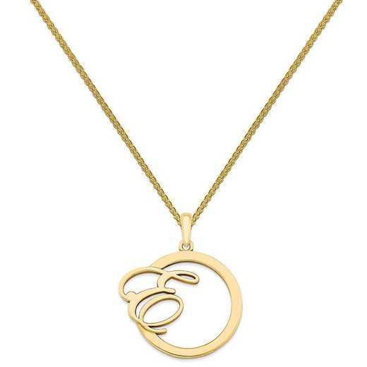 XNA515GP-QSP035G-18: Gold Plated/SS Polished & Satin Initial in Circle Pendant
