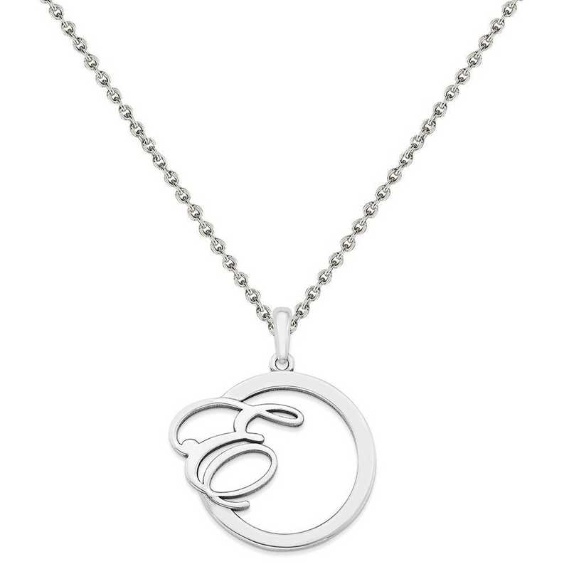 XNA515SS-QCL050R-18: SS Rhod-plated Polished & Satin Initial in Circle Pendant
