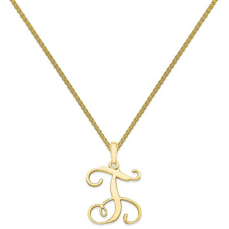 XNA518GP-QSP035G-18: Gold Plated/SS Casted High Polished Initial Pendant