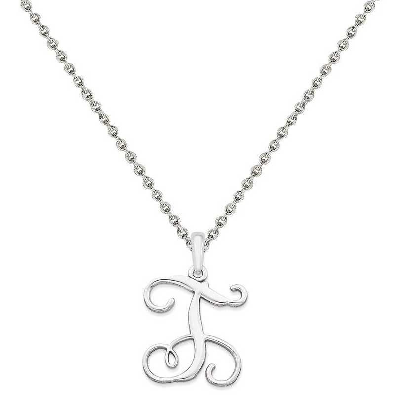XNA518SS-QCL050R-18: SS Rhodium-plated Casted High Polished Initial Pendant