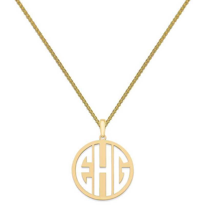 XNA529GP-QSP035G-18: Gold Plated/SS Laser High Polished Monogram Pendant