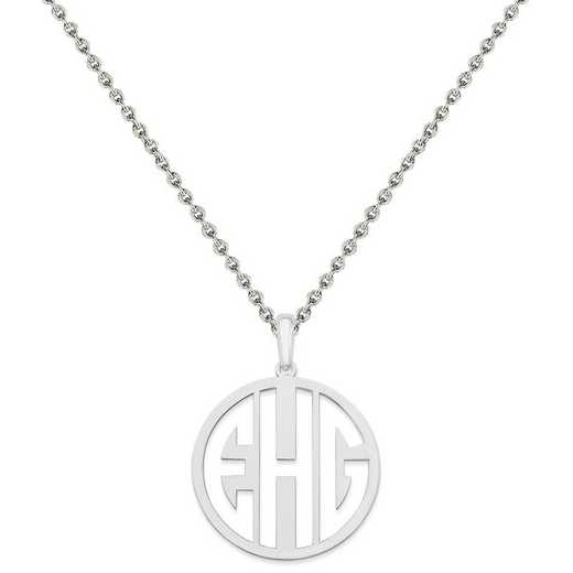 XNA529SS-QCL050R-18: SS Rhodium-plated Laser High Polished Monogram Pendant