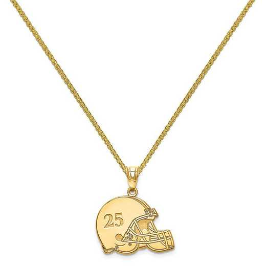XNA693GP-QSP035G-18: Gold Plated/SS Laser Football Helmet Number And Name Pendant