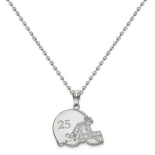 XNA693SS-QCL050R-18: SS Rh-plt Laser Football Helmet Number And Name Pendant