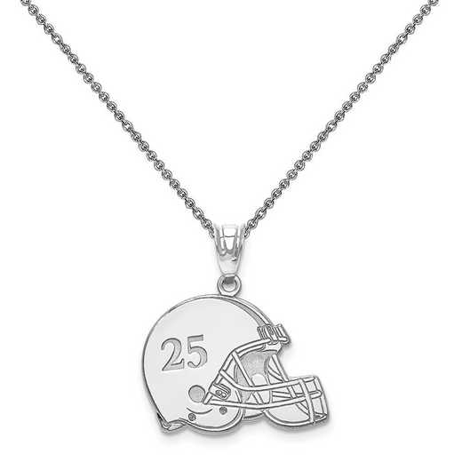 XNA693W-PEN74-18: 14k White Gold Laser Football Helmet Number And Name Pendant