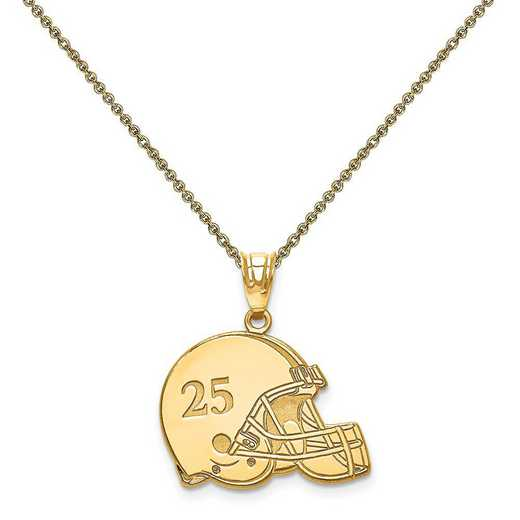 XNA693Y-PEN53-18: 14k Laser Football Helmet Number And Name Pendant
