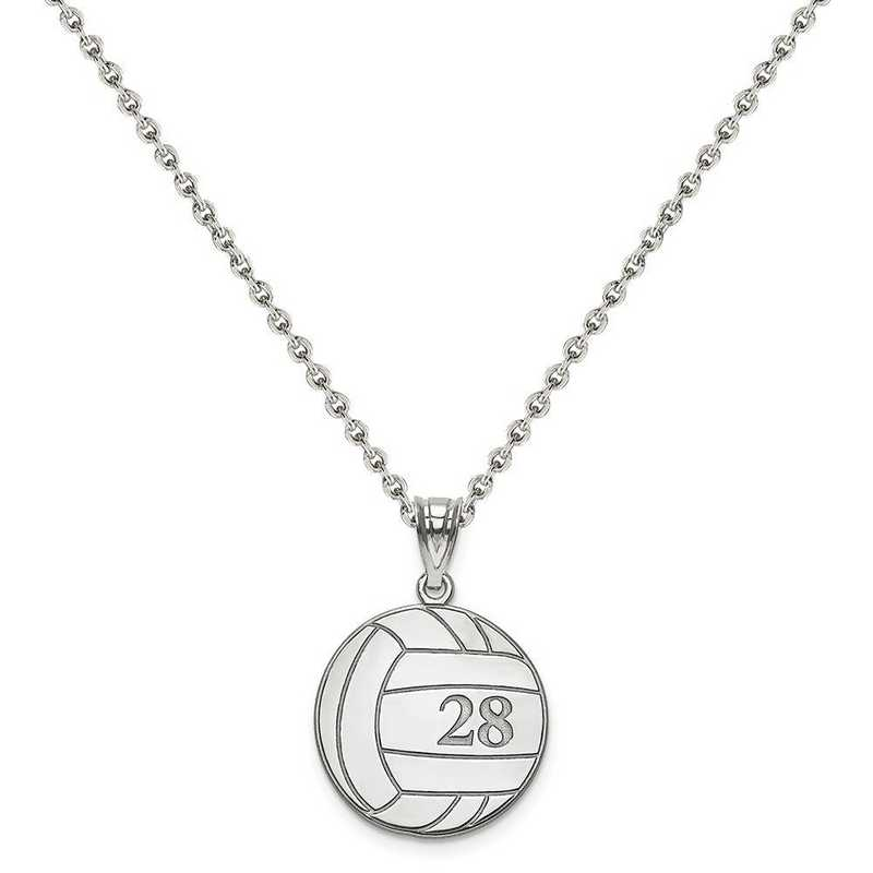 XNA696SS-QCL050R-18: SS Rhod-plated Laser Volleyball Number And Name Pendant