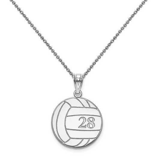 XNA696W-PEN74-18: 14k White Gold Laser Volleyball Number And Name Pendant